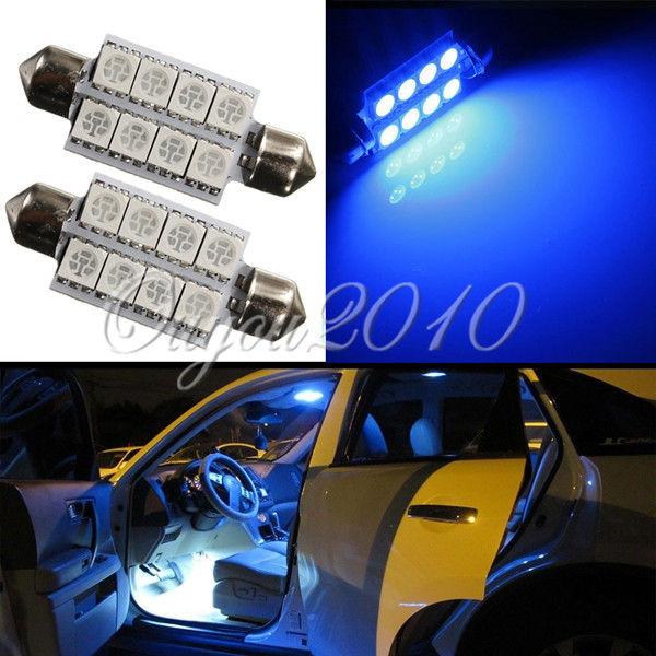 Big Promotion Ultra Blue 42MM 8 LED 5050 SMD Car Auto C5W Dome Interior Festoon Bulb Reading Map Light Door Lamp DC12V(China (Mainland))