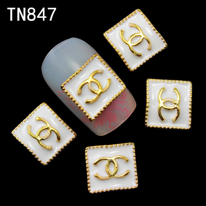 10pc Golden and white Perfume Rhinestone3d Nail Art Decorations,Alloy Nail Sticker Charms Jewelry for Nail Polish TN847(China (Mainland))