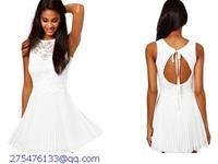 vestidos femininos Plus size Women White Lace Backless Mini Summer Girl Casual Dress Skater Vestidos de festa