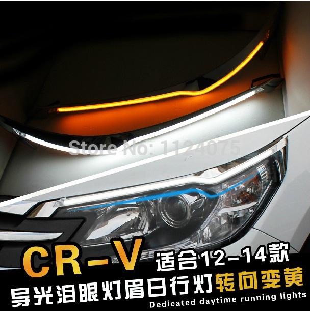 Free shipping One Pair Angel Eyes LED Car Headlight Eyebrow Eyelids Headlights For CRV 2012 2013 2014(China (Mainland))
