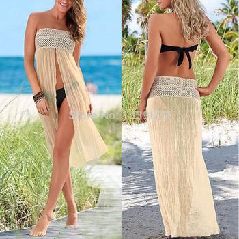Новый женщины бикини сокрытия новый 2015 летние женские купальники пляж юбка купальник прикрыть пляж платье