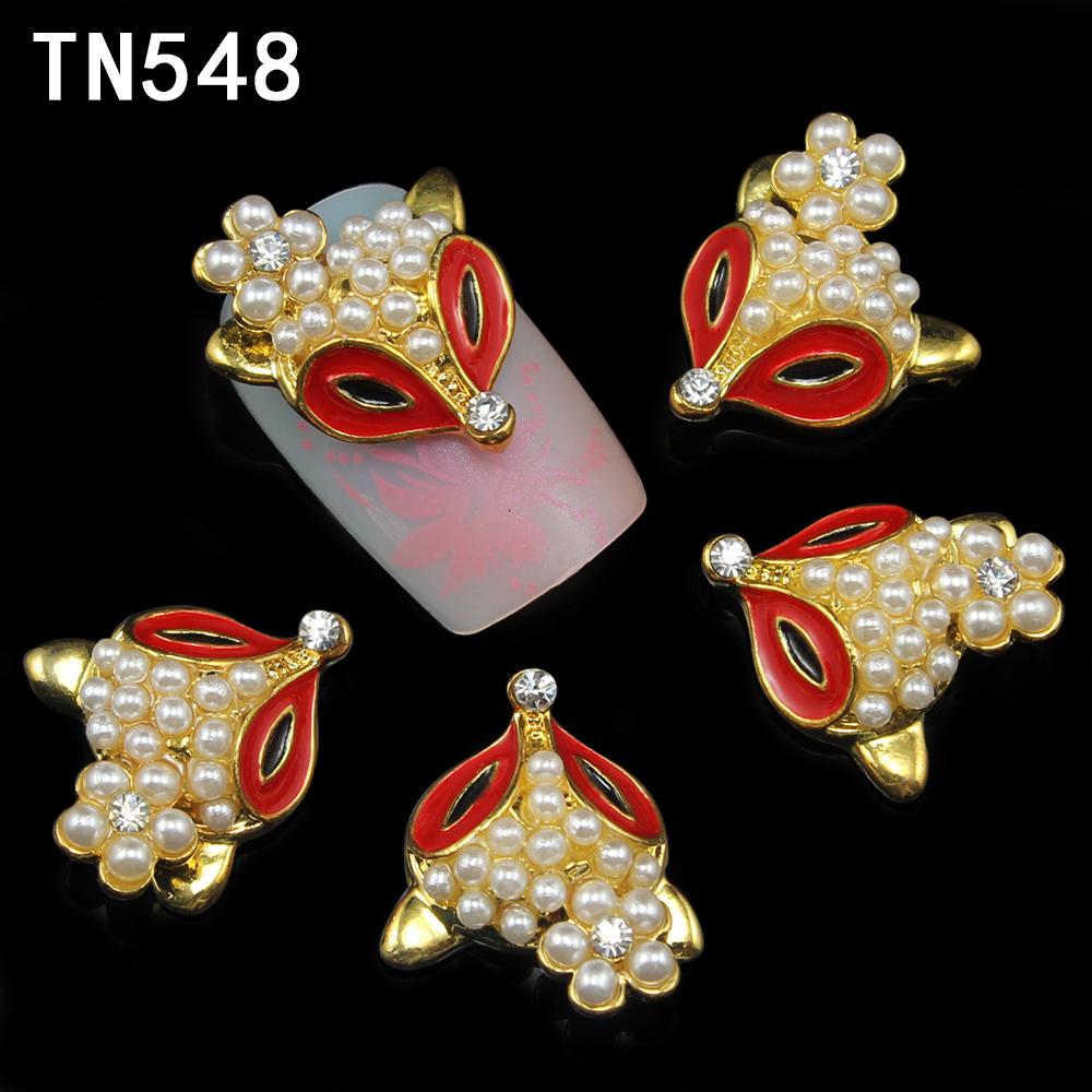 60pcs/lot New 2015 DIY Glitter Rhinestone Gold Red Green Fox Pearl Alloy 3D Nail Art Decorations For Nail Tools TN548(China (Mainland))