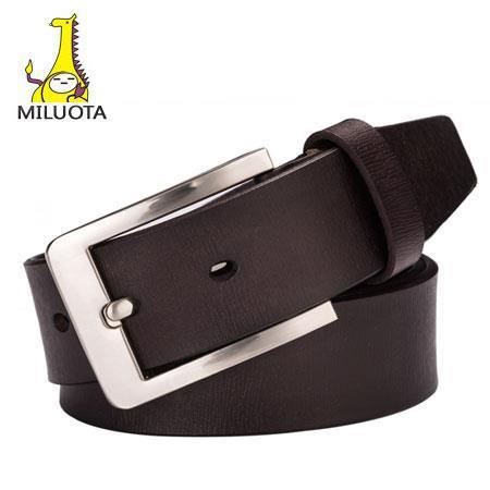 [MILUOTA] 2015 100% Genuine Leather belt men fashion ceinture homme Metal pin buckle belts for men Jeans belt brand cintos LW456(China (Mainland))