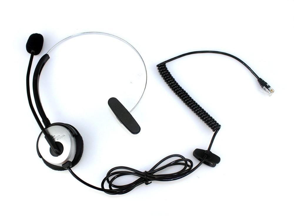 5pcs 4-pin RJ11 crystal head super Telephone Monaural Headset MIC PHONE Prevent noise silver C085(China (Mainland))