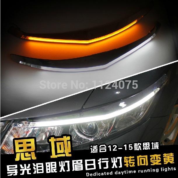Free shipping One Pair Angel Eyes LED Car Headlight Eyebrow Eyelids Headlights For CIVIC 2012 2013 2014 2015(China (Mainland))