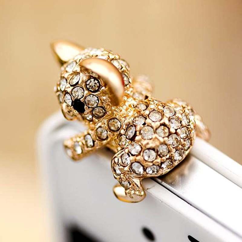 Cute Fashion Diamond Gold Koala Anti Dust Plug for Cell Phone(China (Mainland))