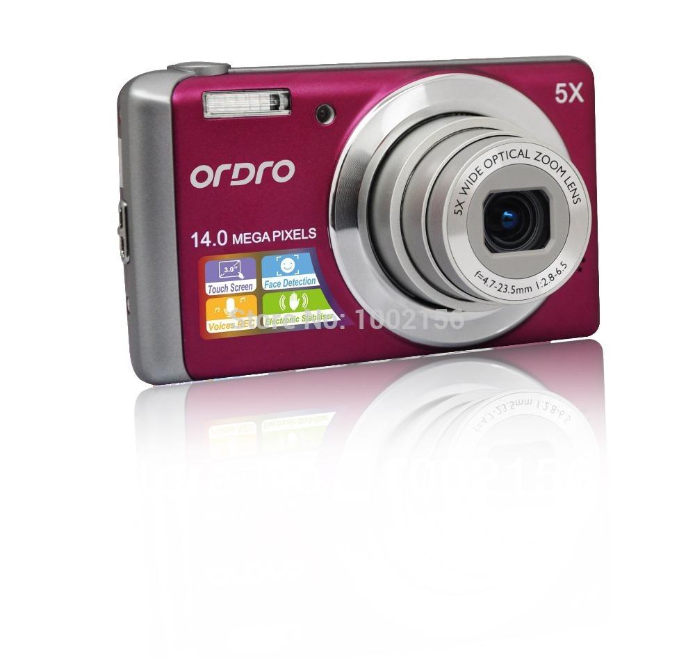 Discount! T500 digital camera 14 Mega pixel 5X optical zoom CCD Sensor 3 Inch touch display screen family HD SD card(China (Mainland))