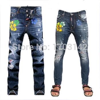 2015 горячая распродажа! оптовая продажа d джинсы квадрат мужчины dsq тонкий fit мода desinger джинсы название бренда D2 джинсы свободного покроя патч брюки джинсы