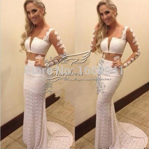 цены на Платье на студенческий бал Starsdress 2015 lace/bodice/sexy/sheer/full/long/sleeves/long/prom Vestido /2 0012 в интернет-магазинах