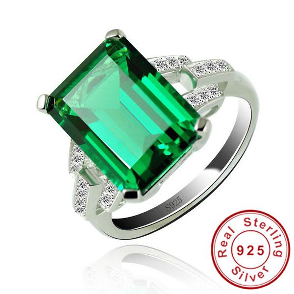 6ct Nano Russian Emerald Ring Fashion Women Gift 925 Solid Sterling Silver Jewelry 2015 Brand New Emerald Cut Unique Design(China (Mainland))