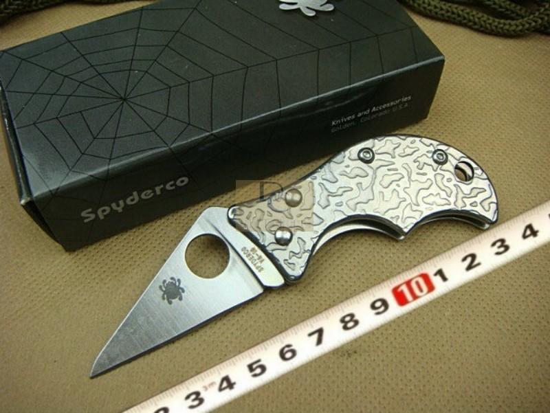 Spyderco C86PET Pocket Knife Mini Knife 420 blade gentleman knife Stainless Steel handle with original box(China (Mainland))
