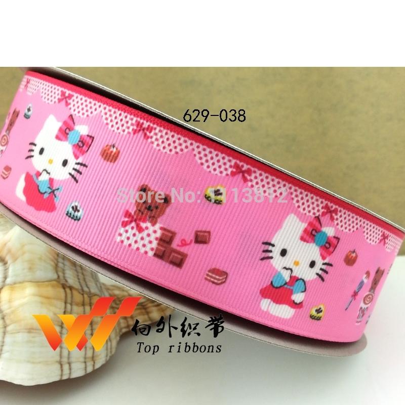"""Free shipping 50 yards 1.5"""" 38mm Hello kitty ribbons printed grosgrain ribbon 629-038(China (Mainland))"""