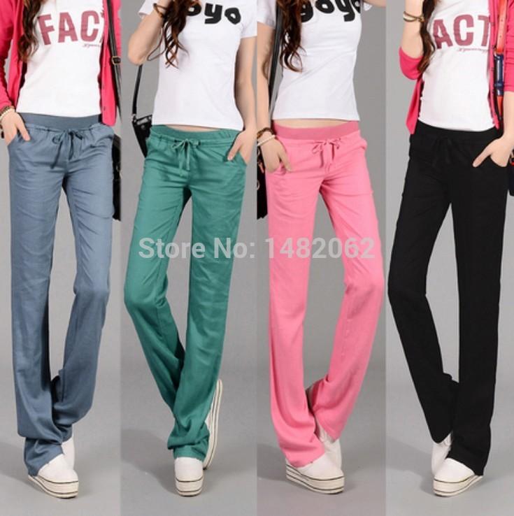 Drawstring Linen Pants Leg Pants Plus Size Linen