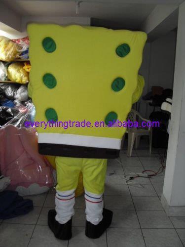 2014 Cartoon Character Adult cute green Spongebob Mascot Costume Fancy Costumes for Halloween(China (Mainland))