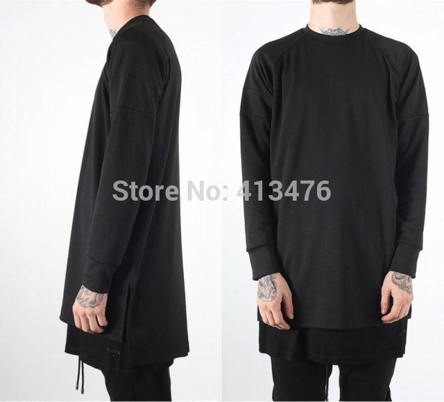 Лучший вариант канье уэст tcotton пуловер уличная одежда приталенный стиль хлопок с боковыми разрезами длинная толстовка дна рубашка