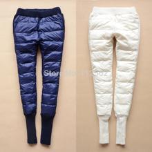 2015 winter women pants black white down pencil pants ladies trousers warm  wool patchwork pantalones mujer free shipping (China (Mainland))