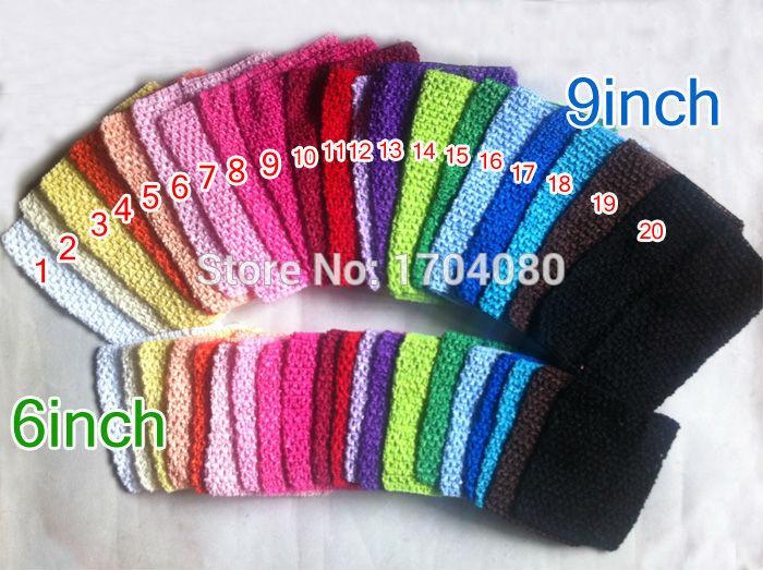 2015 Wholesale Fashion 9inch 20cm*23CM &6inch 14CM*16CM Headband Crochet Tube Top Baby Headband In Stock -total 50pcs/Lot(China (Mainland))