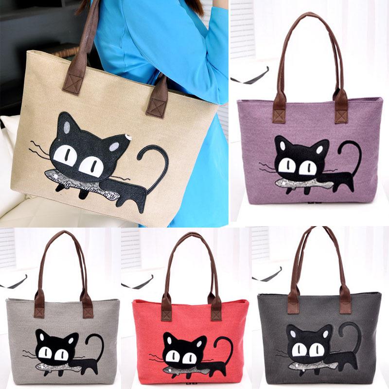 Selljimshop New Fashion Women Shoulder Bag Canvas Bag Cute Cat Bag Office Lunch Bag(China (Mainland))