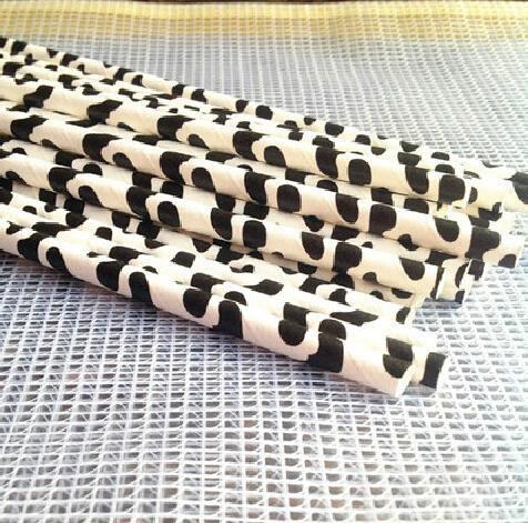 Free Ship 100pcs/lot Cow Print Sailor Striped Paper Straws Paper Drinking Straws Striped Straws For Wedding and Birthday Party(China (Mainland))