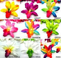 12 Hawaiian Cattleya Vanda Heads - Artificial Silk Flower Orchid Floral - 2.75 inches