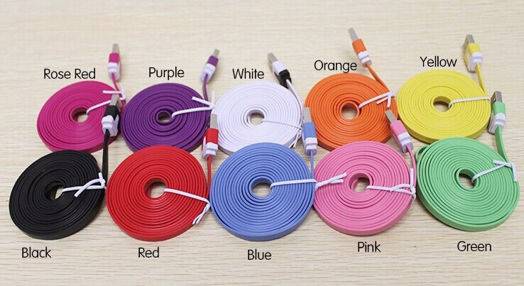1000pcs New Arrival colorful flat noodle usb sync charger/data cable for iphone6 cable and cable for iphone 5 5S for iphone6plus(China (Mainland))