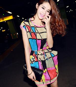 High Quality Women summer dress 2015 Long Sleeve Brand Female Clothing Grid(China (Mainland))