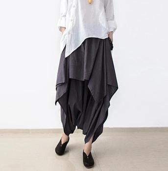 2015 женщины широкую ногу широкий белье хлопок асимметричная брюки в исходном дизайнер ...