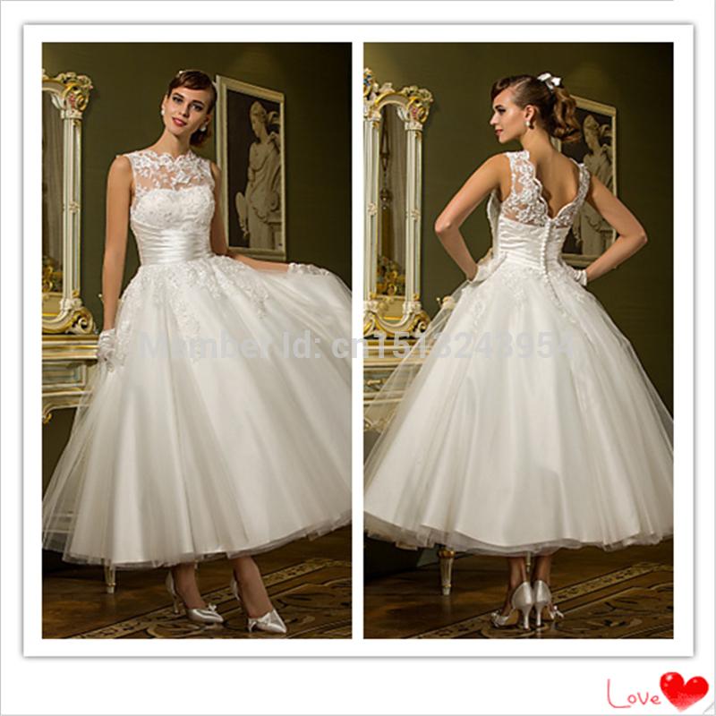 2015 Chic Zipper mangas princesa A linha Ankle Length Tulle Jewel vestido com Beading apliques de casamento vestido de noiva(China (Mainland))