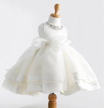 2015 New Flower Girl Dresses for Wedding Brand Princess Big Bow Party Girl Dress Baby Kids