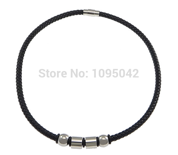Free shipping!!!PU Necklace,Jewelry Accessories, with Silicone & Stainless Steel, black, 8x12mm, 10x11mm, 6mm, 18x8mm(China (Mainland))