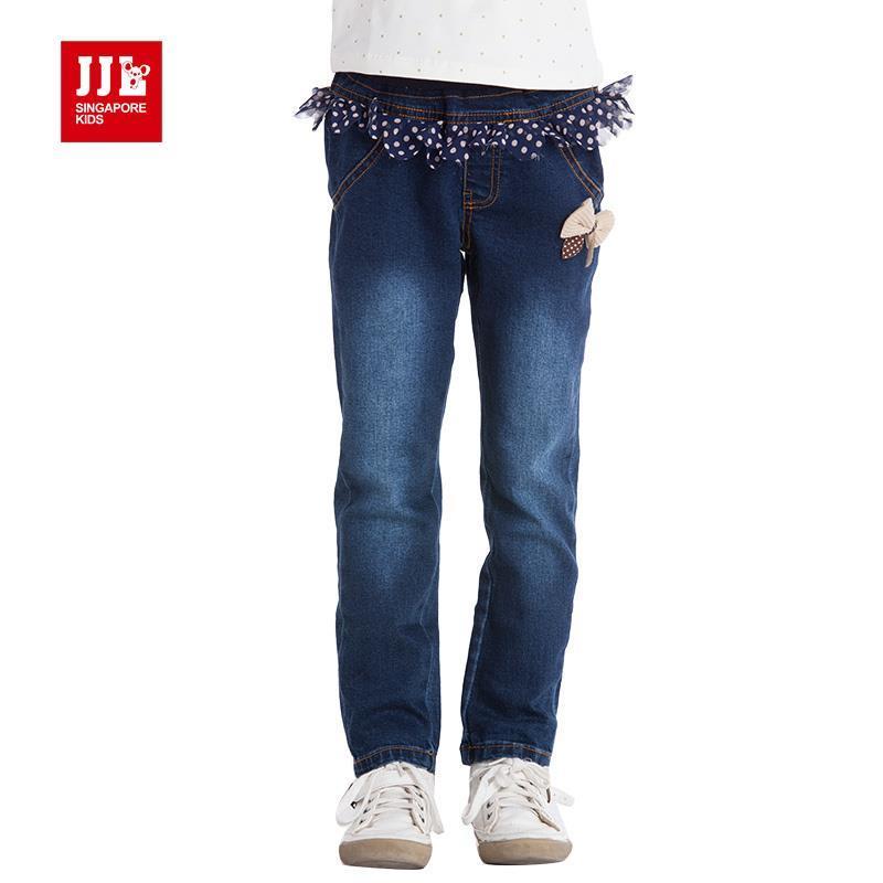 girls fashion deign flower waist decoration demin jeans dark blues soft children's pants size 4-11 years(China (Mainland))