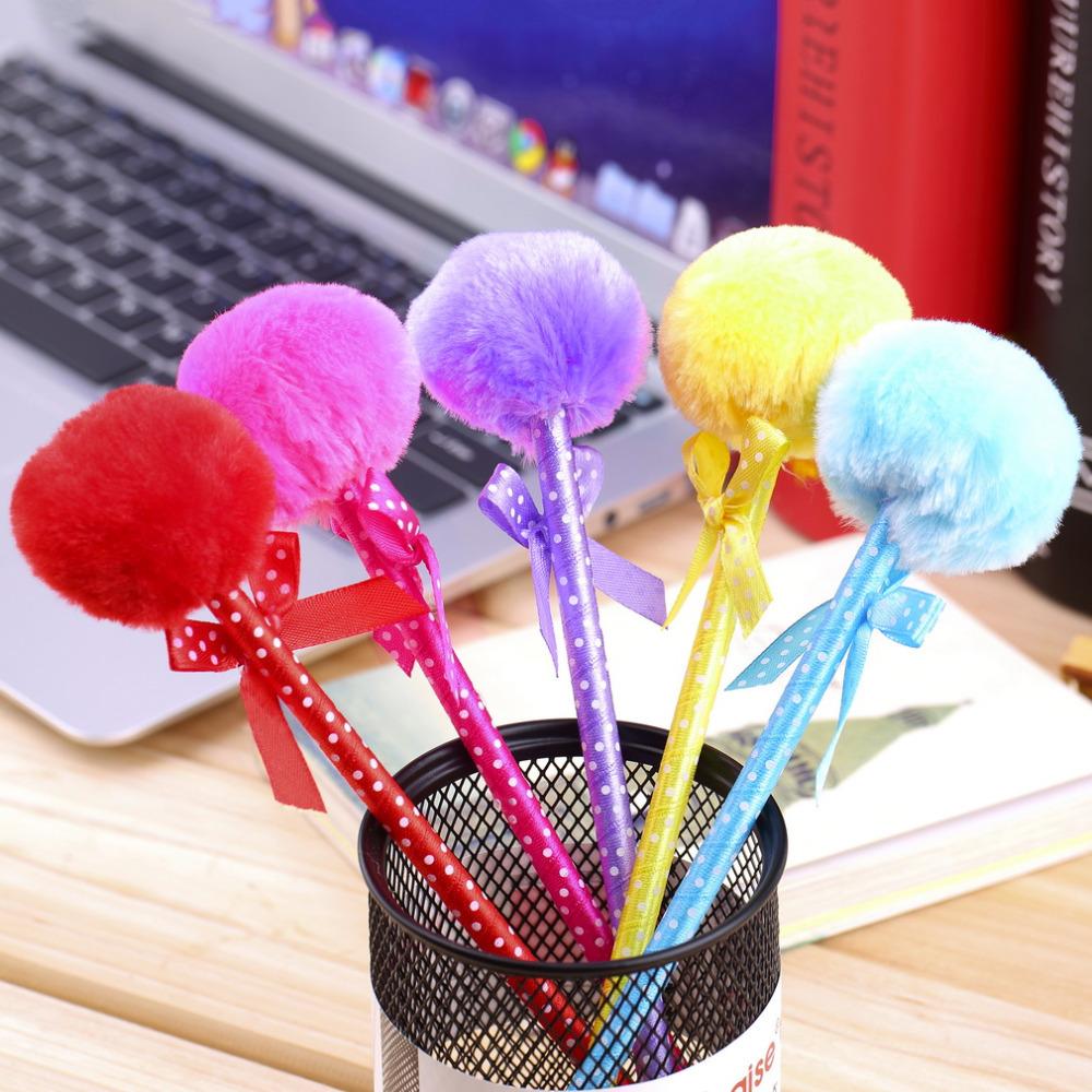 5 pcs / Lot Kawaii Fluffy Pens Cute Ribbon Princess Lovely Fuzz Ball Bow Beautiful Ballpoint Pens Gift(China (Mainland))