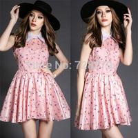 New Women's Dress 2015 Spring and Summer Fashion high quality Organza Print slim dress one-piece dress
