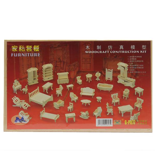 Hot Selling DIY Mini 34pcs/set Kids Educational Dollhouse Furniture 3d Woodcraft Puzzle Model Kit handmade Toys Children gift(China (Mainland))
