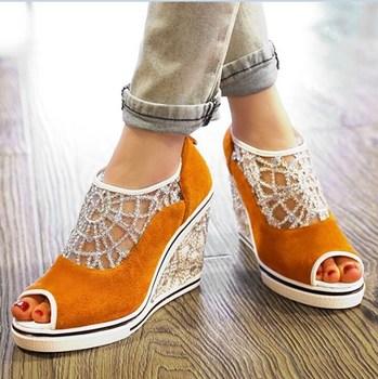 Мода сладкий горный хрусталь клинья сандалии женщин натуральная кожа + чистой пряжи ...
