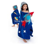 Rocket Space Hero Printing Baby bathrobe/Hooded kid bath towel/Cartoon children's beach towel/Infant Wrap Pajamas