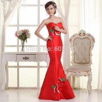 На заказ новое поступление длиной до пола русалка красный длинные свадебные платья с вышивкой быстрая доставка