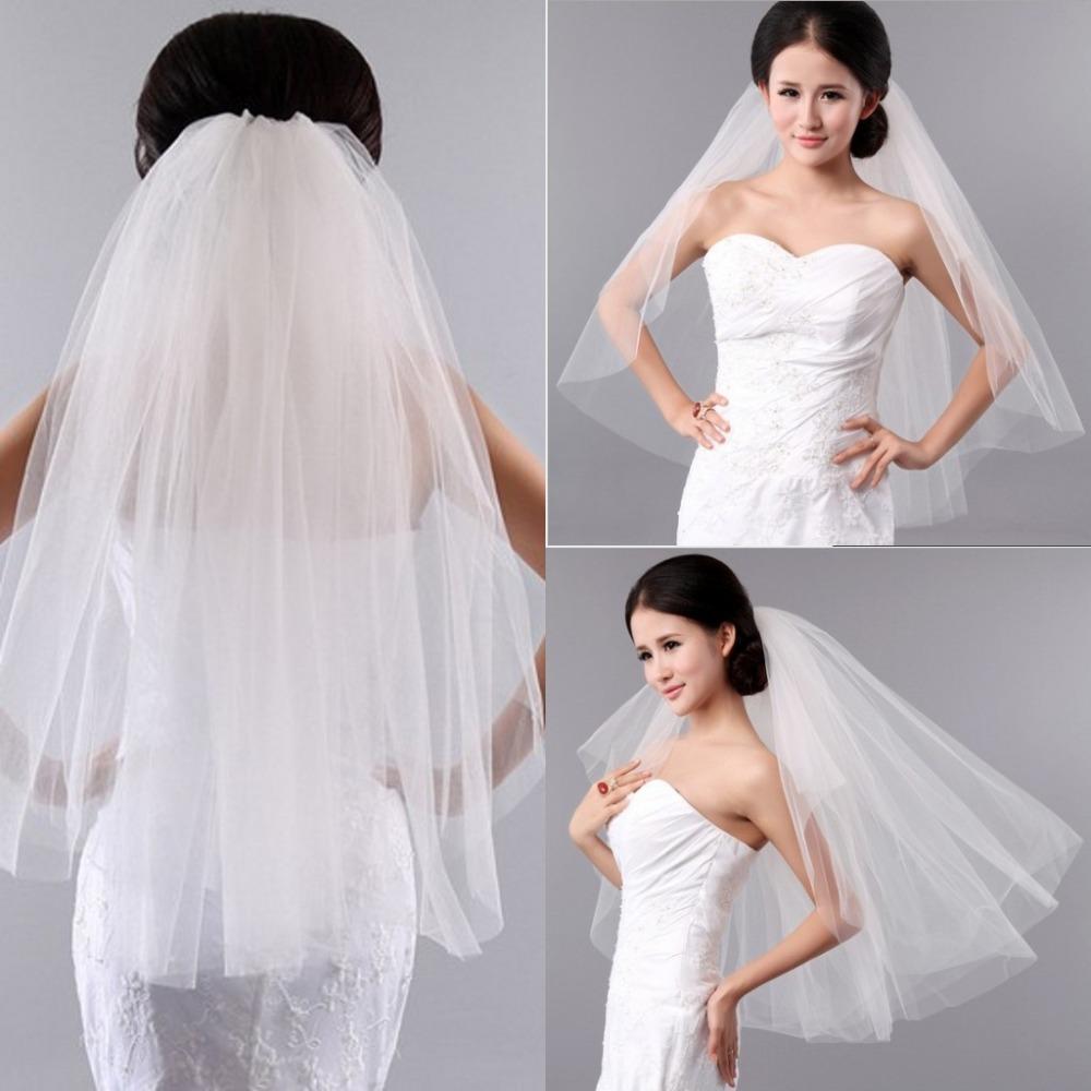 Mantilla Wedding Veil Short White Tulle Cut Edge Cheap Price Two Layers Bridal Hair Accessories Vestido De Noiva Store(China (Mainland))