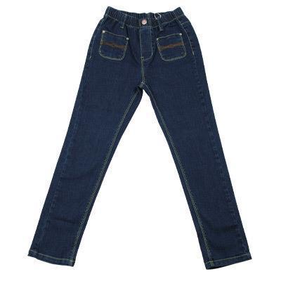 kids girls classic long pants dark blues demin jeans full length adjustable kids jeans size 7-16 Yr(China (Mainland))