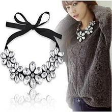 2015 New Design Elegant Statement Big Gem Camellia Fllower Ribbon Collar Bib Necklace Choker Necklace For Women(China (Mainland))