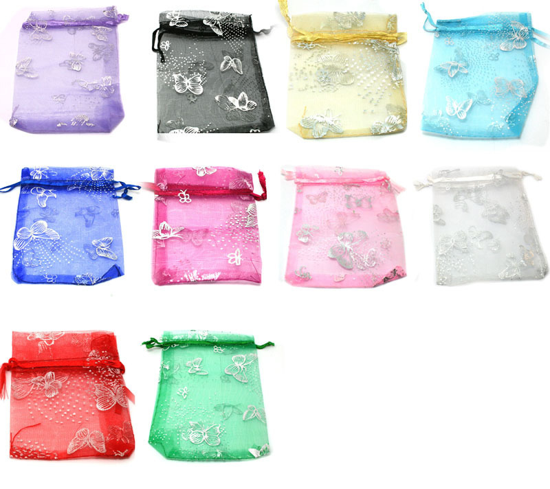 Free Shipping 7x9cm Random Mix Colors Jewelry Packing Drawable Organza Bags Wedding Gift Bags Pouches 100pcs/lot PS-PDB01-03SMX(China (Mainland))