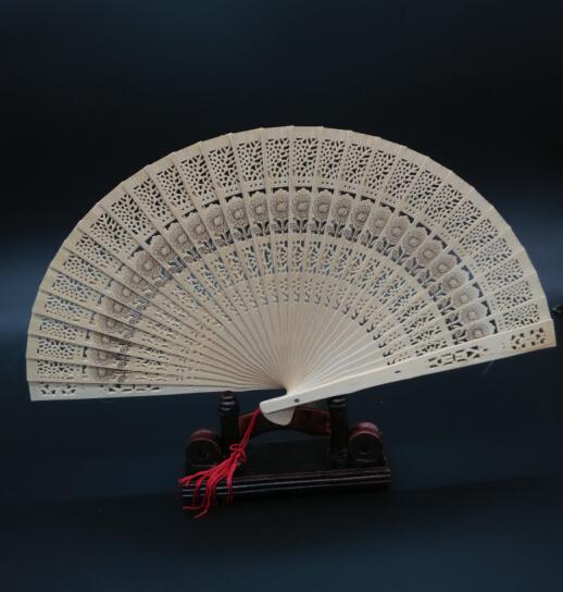 Chinese Folding Bamboo Hand Fans Carved Sunflower Wedding Bridal Party Decor Tassel Fragrant Sandalwood Fan(China (Mainland))