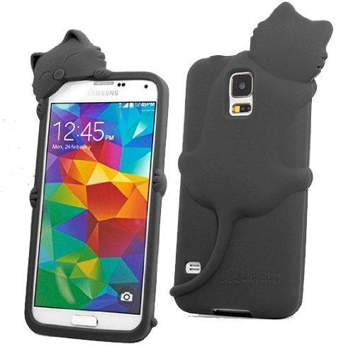 Black i9600 S5 Kiki Cat Silicone Case Cover for Samsung Galaxy S5 i9600 SV S V Earphone Anti Dust(China (Mainland))