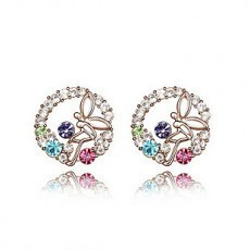 Can Mixed Order! Wholesale fashion Jewelry Crystal Stud gold sapphire coral gothic women Earrings R083(China (Mainland))