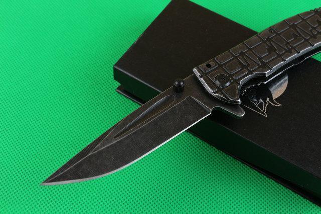 black titanium plating hard degree 57 HRC electric corrugated steel shank folded dao hunting of high