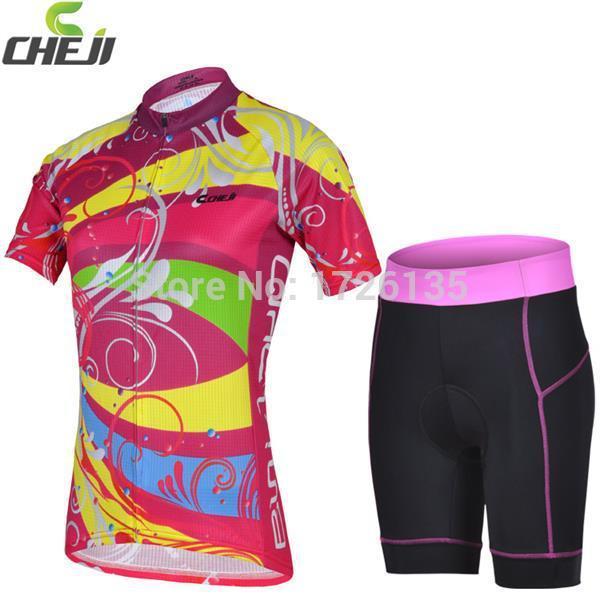Chegada nova CHEJI camisa de ciclismo / bicicleta Jersey e shorts apertados / mulheres vestuário / bicicleta roupas grátis frete(China (Mainland))