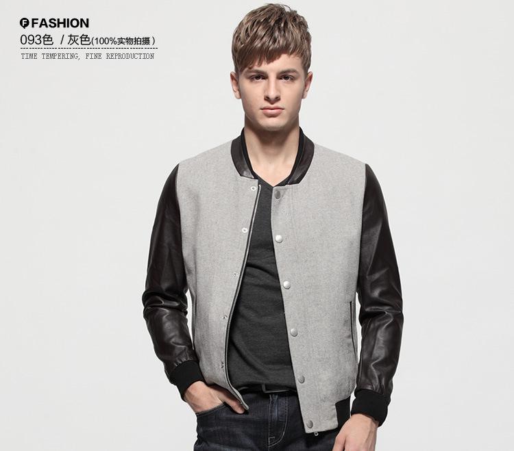 M - XXL Plus Size Men's Jacket Woolen Body Patchwork PU Long Sleeve Outwear Spring Fashion Men's Jacket(China (Mainland))