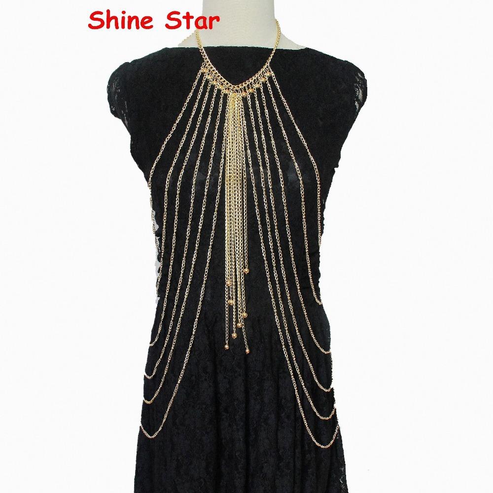 Exclusive!Multi-Layered Gold Aluminum Chain Body Chain Bead Long Tassel Harness Bikini Belly Beach Women Necklace Jewelry,D02(China (Mainland))