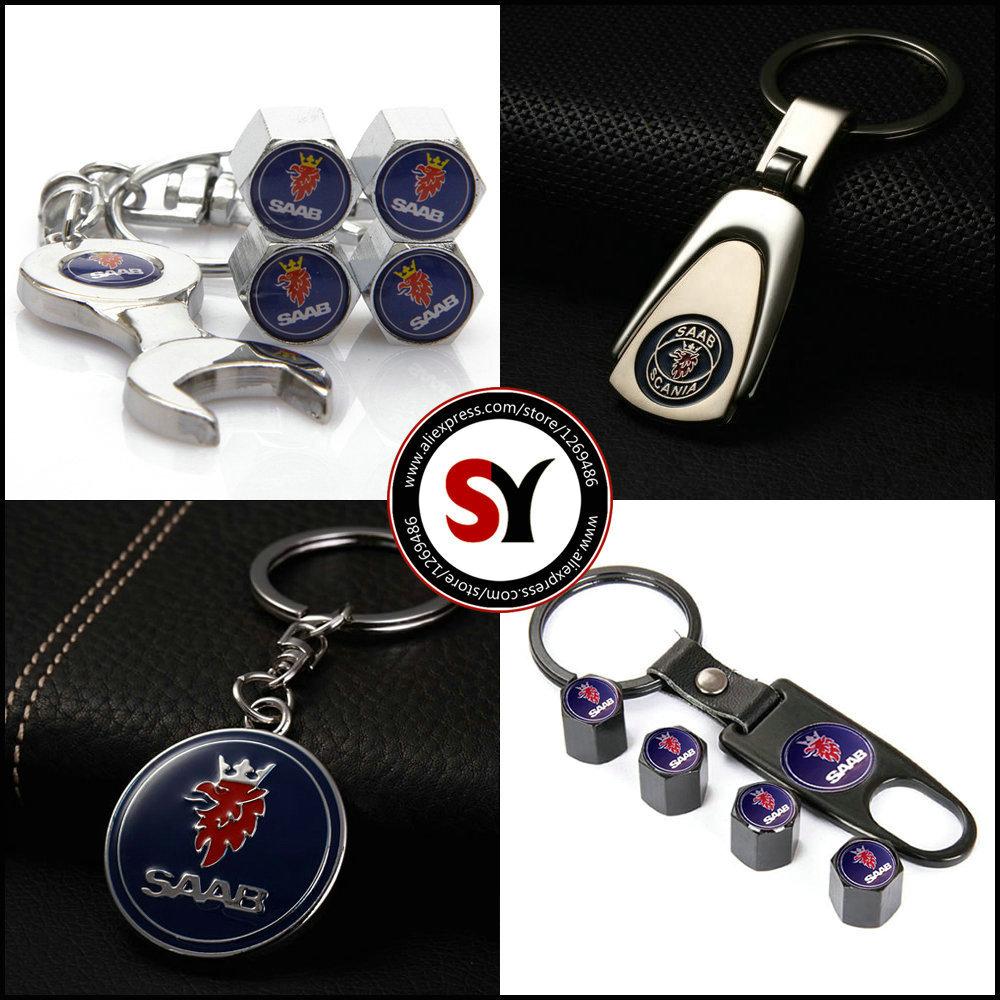 Saab Car Keychain Keyrings Key Holder With Saab Emblems Auto Parts accessories Auto Tire Valve CapS For Saab Car(China (Mainland))