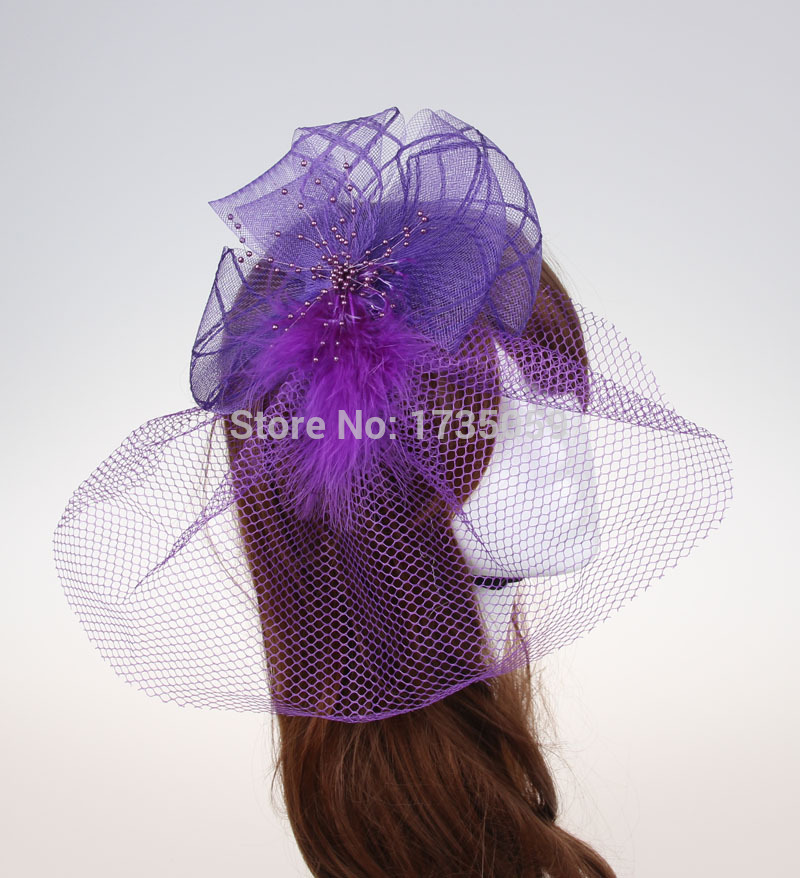 2015 Newest fascinator hairband with feather bridal veil hairwear wedding party hairband Free shipping 3pcs/lot(China (Mainland))